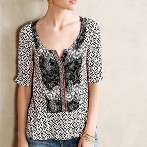 Anthropologie Akemi + Kim Bib Top Black White Sm